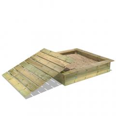 PowerPit Sandlåda med lock 145x145x32 cm
